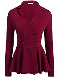 GODGETS Blazer Donna Manica Lunga Giacche da Abito Elegante Classico Scollo  a V Tailleur Giacca Carriera 696757c1db1