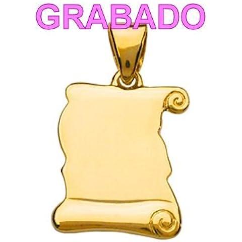 So Chic Joyas - Colgante Pergamino Vermeil (Oro 750 sobre Plata 925) - Personalizable : Grabado gratis