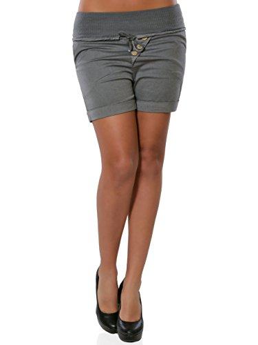 Damen Shorts Hot-Pants Kurze Sommer Hose Chino Stoffhose No 15871 Steingrau XXL / 44