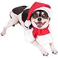 Clever Creations Disfraz navideño para Perros - Ideal para Casi Todas Las Razas - Gorro de Papá Noel y Bufanda en Rojo y Blanco - Gorro: 16,5 x 27,9 cm - Bufanda: 68,6 x 8,3 cm