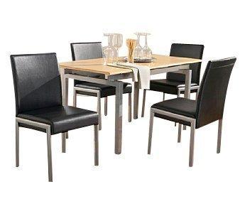 Ensemble de 2 Chaises en ligne Meubles en Métal Rembourré Couleur Crème et Noir - Chaque chaise env.:. 89x50x56, Couverture: simili cuir, 100% de chlorure de polyvinyle, noir