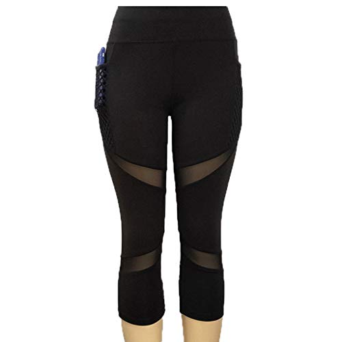 Nuevo!! Mallas Deportivas Mujer, Leggins Yoga Pantalon Elastico Cintura Altura Polainas para Running Pilates Fitness (M, Negro)