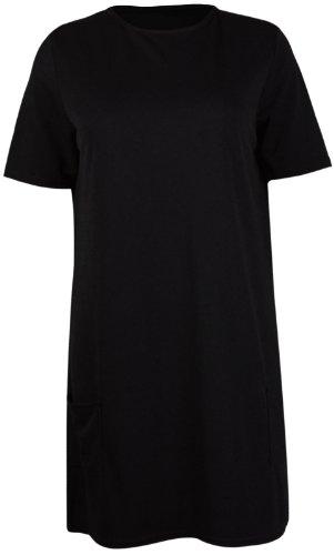 Femmes uni manches courtes femmes Rond encolure ronde poches avant Mini Robe courte haut tunique long grande taille Noir