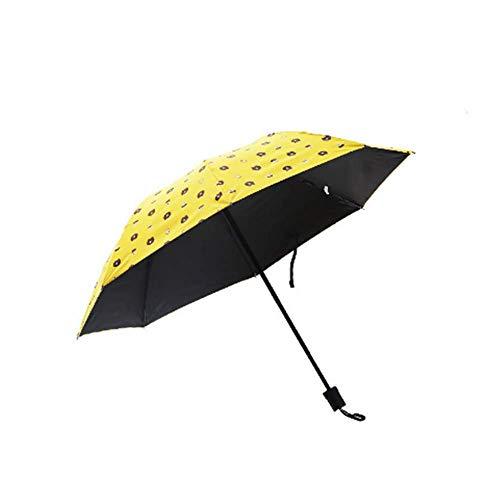 BBQBQ Sonnenschirm Dreifachgefalteter Regenschirm aus schwarzem Kunststoff mit doppeltem Verwendungszweck