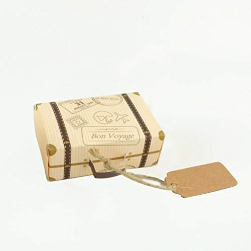 Vosarea Mini Koffer Geschenkboxen Süßigkeitskästen Vintage Papier mit Tags Schokolade Gunst Boxen Hochzeit Gunsten Dekoration 50pcs