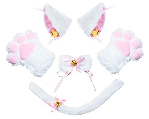 Beelittle Katze Cosplay Kostüm Kätzchen Ohren Schwanz Kragen Pfoten Katze Cosplay Sammlung 5 Pack (White1)