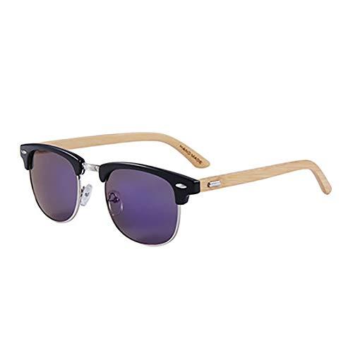 FYrainbow Unisex Holz/Bambus Sonnenbrille, Retro Exklusive polarisierte Sonnenbrille aus Holz für Damen und Herren AC Linse UV400 UV-Schutz,B