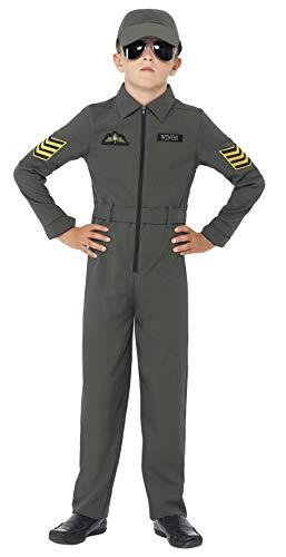 Smiffys Kinder Flieger Kostüm, Jumpsuit mit Abzeichen, angesetzter Gürtel und Mütze, Größe: M, 41091 -