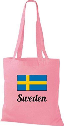 ShirtInStyle Sac en tissu Sac en coton Jute de pays Suède Suède - Ciel, 38 cm x 42 cm rose
