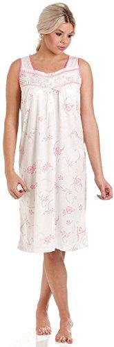 Donna Floreale Jersey misto cotone camicia da notte Camicia da notte & Pigiama - Disponibile in taglie 10-36 Rosa - senza maniche