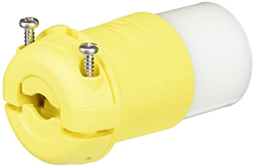 Hubbell Wiring Systems HBL26CM13 Twist-Lock Ship-to-Shore Nylon Chem-Marine Insulgrip Connector Body for Weatherproofing, 2 Pole, 3 Wire, 30 Amps, 125V AC, Yellow by Hubbell Wiring Systems Hubbell Marine-connectors