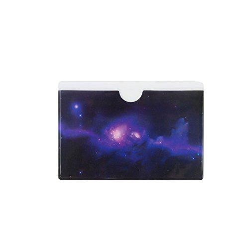Protector-blätter Kunststoff (Zhi Jin PVC Kreditkarte Sleeve Protectors Halter Fall Dream Bus Subway Karte Ärmel Organizer Set Schule Geschenk Decor 20Stück Purple Stars)
