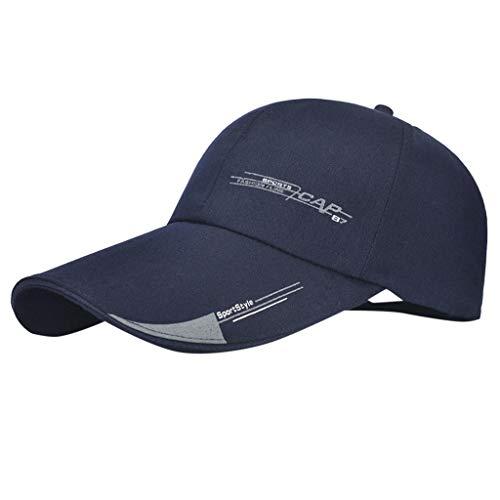 2019 Damen Herren Baumwolle Einfache Vollständig Atmungsaktive Mesh Cap, Bestickte Unisex modische Baseball Caps Einstellbar lässige Sportmütze Sonne Hüte Unisex (Marine, 1 Stück) -