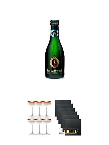 Fürst von Metternich Riesling Sekt Trocken 20 cl Piccolo + Sektschale Stölzle 6 Gläser - Olympic Serie matt-weiß BRONZE 273/88/08 + Schiefer Glasuntersetzer eckig 6 x ca. 9,5 cm Durchmesser