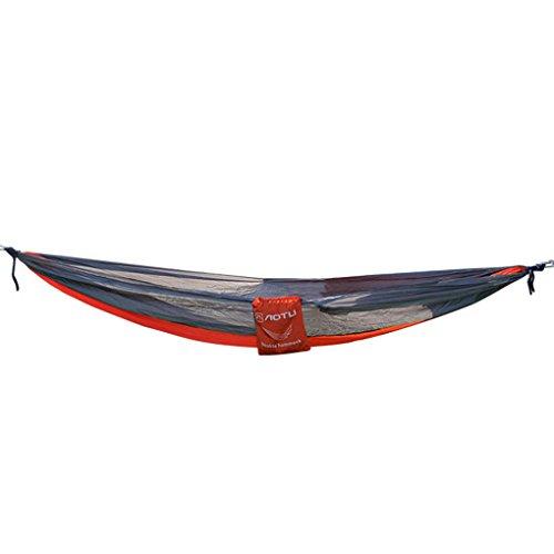 Floridivy Doppel Person Hammock Parachute Hängen Schlafen Cod Bed Indoor Outdoor-Garten-Yard Verandaschaukel Seesaw für Aotu Rot + Grau (Rot-bett-satz)
