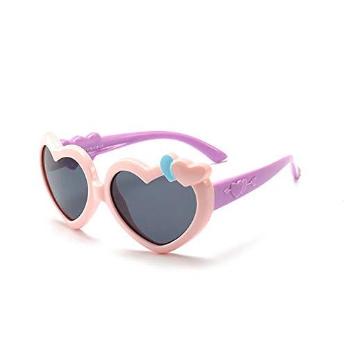 Wang-RX Reizende Herz-Sonnenbrille-Kinder polarisierten für Mädchen-Rahmen-Retro Art- und Weisebrille TR90 weiche sichere Eyewear-Kind-Schatten UV400