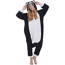 Pijama Animal Entero Unisex para Adultos con Capucha Cosplay Pyjamas Gato Negro Ropa de Dormir Traje de Disfraz para Festival de Carnaval Halloween Navidad