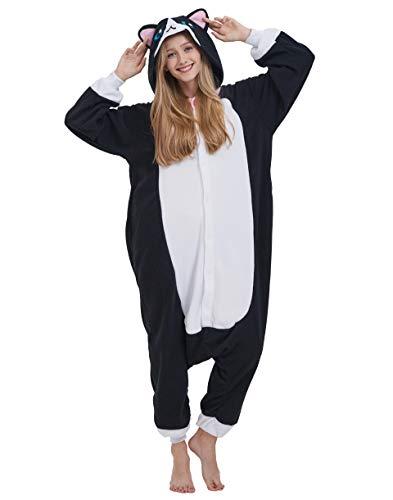 Jumpsuit Katze Kostüm - Jumpsuit Onesie Tier Karton Fasching Halloween Kostüm Lounge Sleepsuit Cosplay Overall Pyjama Schlafanzug Erwachsene Unisex Katze Schwarz for Höhe 140-187CM