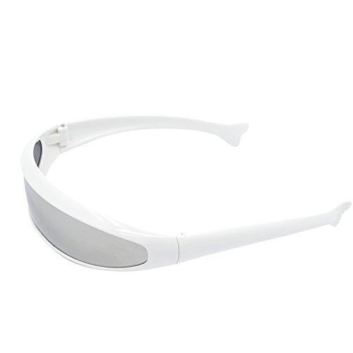 Kostüm Neo Sonnenbrille - Futuristische Erwachsenen PC weiß Rahmen gespiegelt Objektiv Sonnenbrillen Party Kostüm komische Props Schutzbrillen
