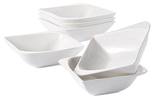 Vancasso cloris set 6 pezzi servizio da ciotole in porcellana combinazione, set di ciotole per cereali gelato noodle zuppa snack dolce, fruttiere e insalatiere bianca crema e rosa per 6 persone