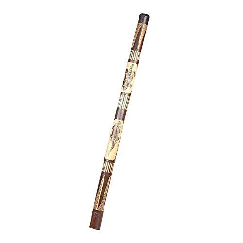 Didgeridoo Bambus Holz Aborigini bemalt geschnitzt Instrument fair Gecko Schildkröte Dot Painting (geschnitzt braun)