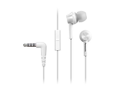 Panasonic RP-TCM105E-W In Ear Kopfhörer (Mikrofon und Controller mit 1 Tasten-Bedienung, 3 Paar wechselbare Pass-Stücke, Übertragungsbereich 10-24.000 Hz, 1,2 m Kabel) weiß (Pass-controller)