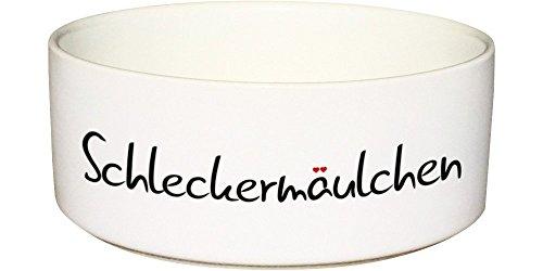 CADOURI - Keramik Hundenapf Futternapf Wassernapf Katzennapf mit Schriftzug SCHLECKERMÄULCHEN - 650 ml