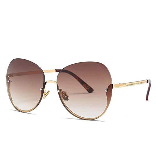 Klassische Sportsonnenbrille, Luxury Oversized Round Sunglasses Women UV400 Retro Semi-Rimless Gradient Sun Glasses For Female Oculos Eyewear