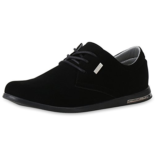SCARPE VITA Klassische Herren Halbschuhe Schnürer Business Sneaker Schuhe 160968 Schwarz 41