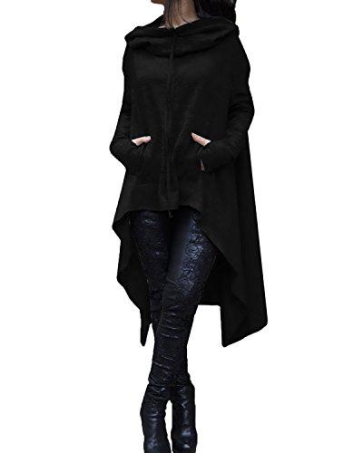 StyleDome Donna Camicetta Maglietta Maglia con Cappuccio Blusa Asimmetrica Manica Lunga Elegante Nero con Tasca IT 48-50
