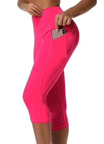 3/4 Capri Tight (INSTINNCT Damen Doppeltaschen Sport Leggings 3/4 Yogahose Sporthose Laufhose Training Tights mit Handytasche Capris(normal) - Rosa rot M)