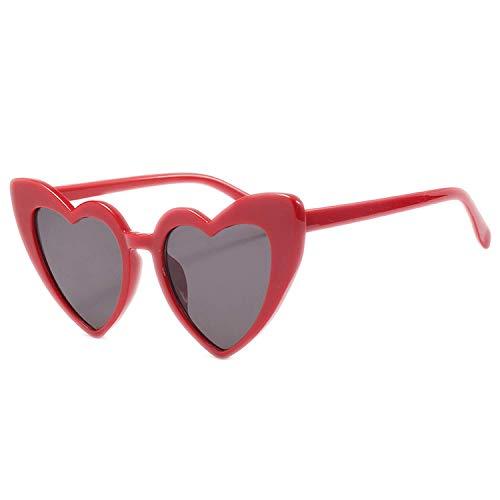 WERERT Sportbrille Sonnenbrillen Heart Shaped Sunglasses Women Luxury Cat Eye Sun Glasses Ladies Vintage Pink Black Eyewear UV400 - Versace Red Lens