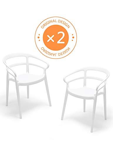 Suhu Stuhl Retro 2er Set Esszimmerstühle Esszimmer Designer Sessel Esstisch Stühle Modern Küchenstühle Stapelstuhl Gartenstuhl Loungesessel Esszimmerstuhl Vintage Essstühle Plastik Essstuhl Weiß -
