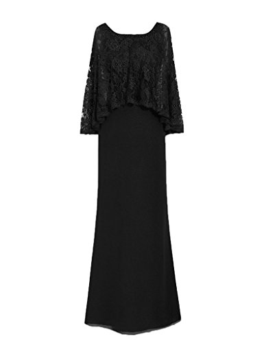 HUINI Lace Perlen Mantel Chiffon Mutter der Braut Kleider Formal Partei Kleider Schwarz