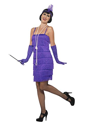 Smiffys 45500XL, Damen Flapper Kostüm Kurzes Kleid Haarband und - Lila Fancy Dress Kostüm