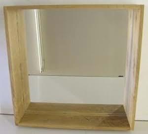 Box Wall Shelf Mirror Unit In Solid Oak Ideal For Bathroom Bedroom Hall