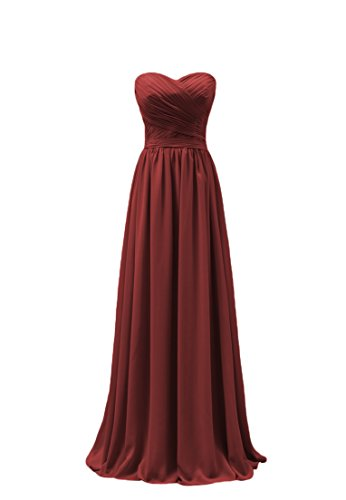 Bridal_Mall - Robe - Trapèze - Sans Manche - Femme rouge foncé