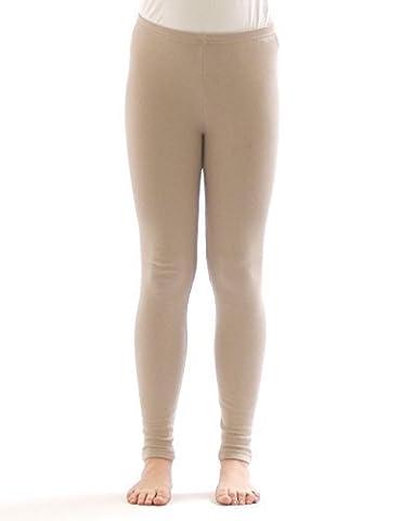 Kinder Thermo Mädchen Leggings leggins Hose lang aus Baumwolle Fleece Futter beige 140