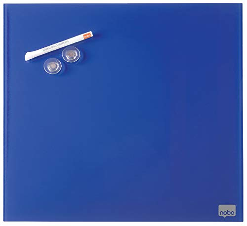 Nobo Diamond Glastafel, Magnetisch, Quadratisch, 450 x 450 mm, Inkl. Glastafelmarker, Magneten und Montage-Set, Blau, 1903953 - Quadratische Magnete