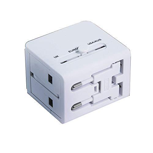 0 ℃ Outdoor Weltweiter Reiseadapter, der Beste Internationale Stecker mit Zwei USB-Ladeanschlüssen, Zwei USB-Nennleistungen: 5V / 2000mA und Universal-AC-Buchse,White,1.0A