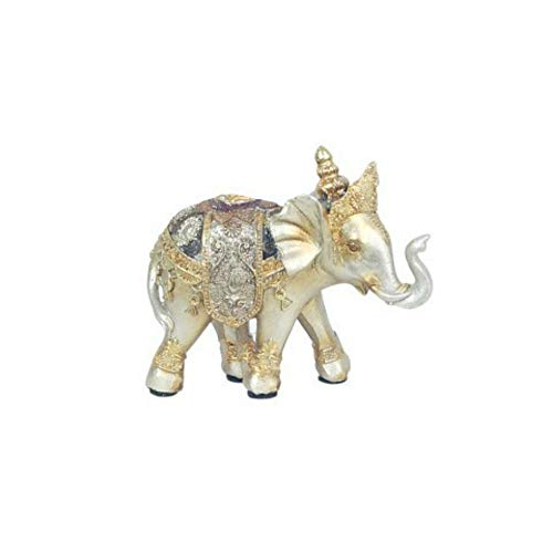 CAPRILO Figura Decorativa de Resina Elefante Indio con Gorro Adornos y Esculturas....