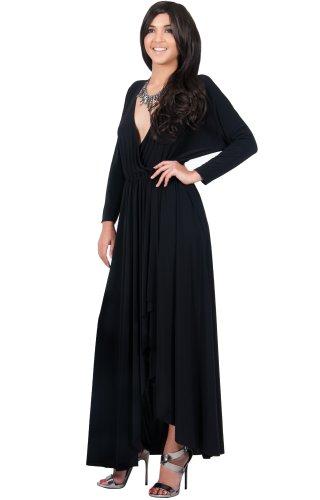 KOH KOH Da Donna Maxi abito autunnale invernale formale da cocktail a manica lunga Vestiti Nero