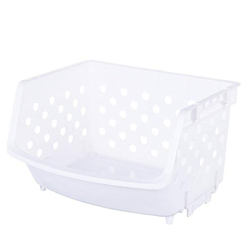 LY/WEY 1Pcs Plastic Can Be Stacked Storage Basket Fruit and Vegetables Holders Rack Store Many Debris Kitchen Tools,White