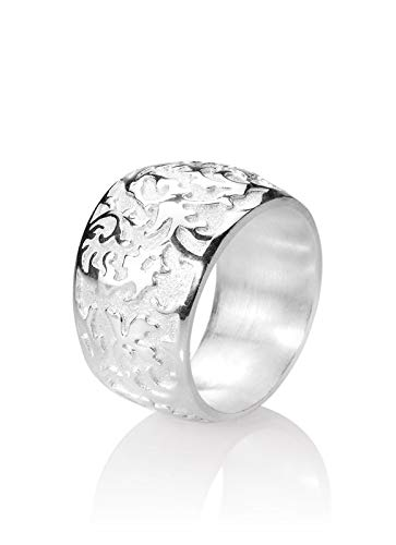 Drachenfels Luxus Damen Bandring | Kollektion 1001 Nacht | Edler großer Ring mit feinem Ornament in Echtsilber | Design-Schmuck aus 925 Sterling Silber | Gr. 54