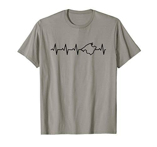 Malle Mallorca Heartbeat T-Shirt Insel Karte Umriss Geschenk