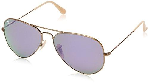 Ray Ban Unisex  Sonnenbrille Aviator, Gr. Large (Herstellergröße: 58), Mehrfarbig (Gestell: bronze, Gläser: lila gespiegelt)