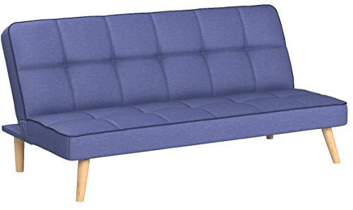 Homestyle4u 1896, Schlafsofa Sofa mit Bettfunktion Klappbar, Schlafcouch Blau Stoff