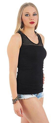 Damen Träger Sommer Shirt Top T-Shirt 6 Farben Farben Gr. S M L XL Schwarz