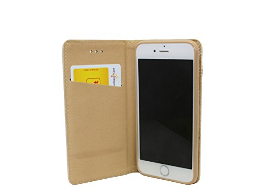Iphone 8 PLUS // Buchtasche Hülle Case Tasche Wallet BookStyle mit STANDFUNKTION in Anthrazit @ Energmix Gold