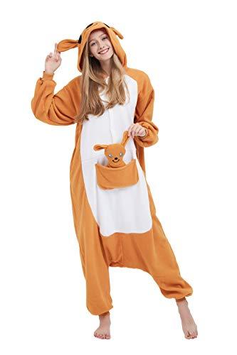 Fandecie costume animale costume animale pigiama pigiama tuta kigurumi donna uomo cosplay adulto per carnevale animale halloween (canguro, xl - per altezza 180-190 cm)